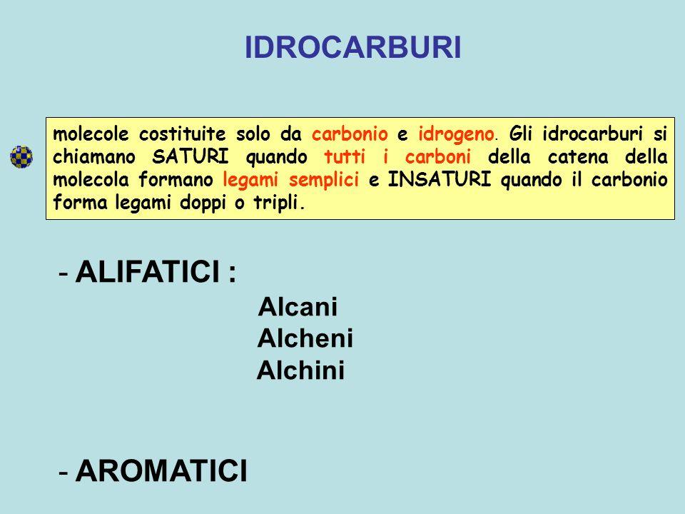 IDROCARBURI ALIFATICI : AROMATICI Alcheni Alchini