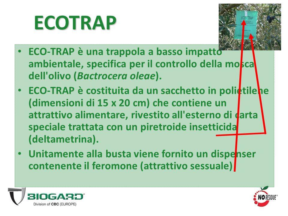 ECOTRAP ECO-TRAP è una trappola a basso impatto ambientale, specifica per il controllo della mosca dell olivo (Bactrocera oleae).