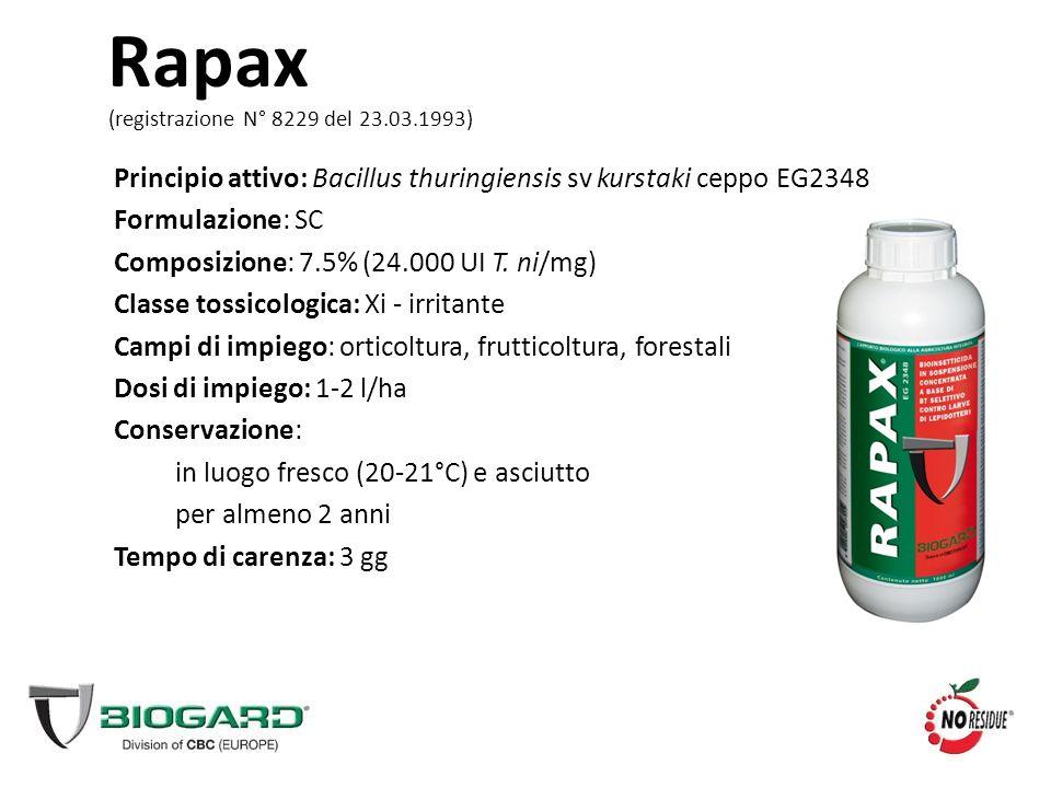 Rapax (registrazione N° 8229 del 23.03.1993) Principio attivo: Bacillus thuringiensis sv kurstaki ceppo EG2348.
