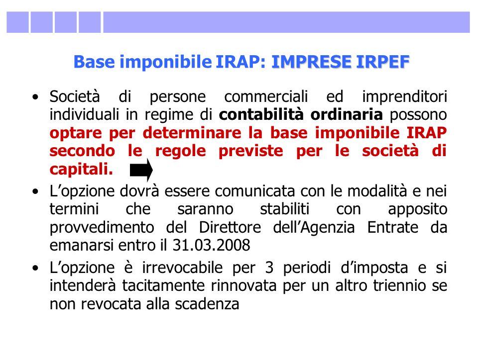 Base imponibile IRAP: IMPRESE IRPEF