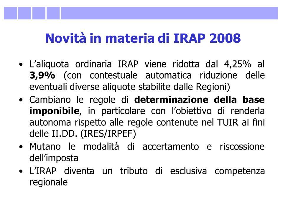 Novità in materia di IRAP 2008