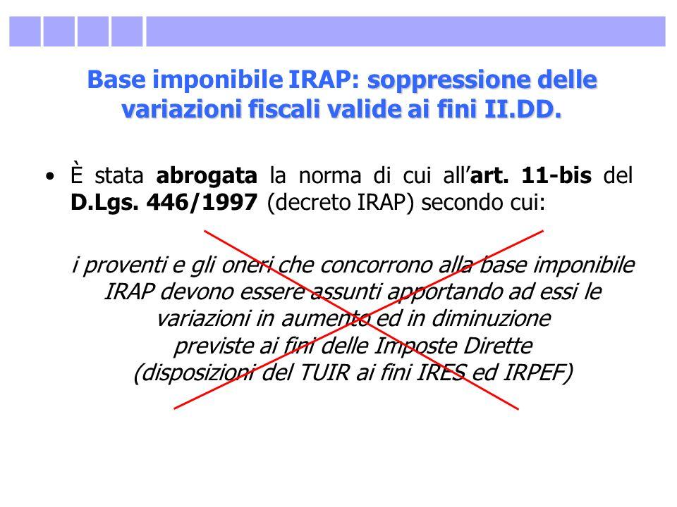 Base imponibile IRAP: soppressione delle variazioni fiscali valide ai fini II.DD.