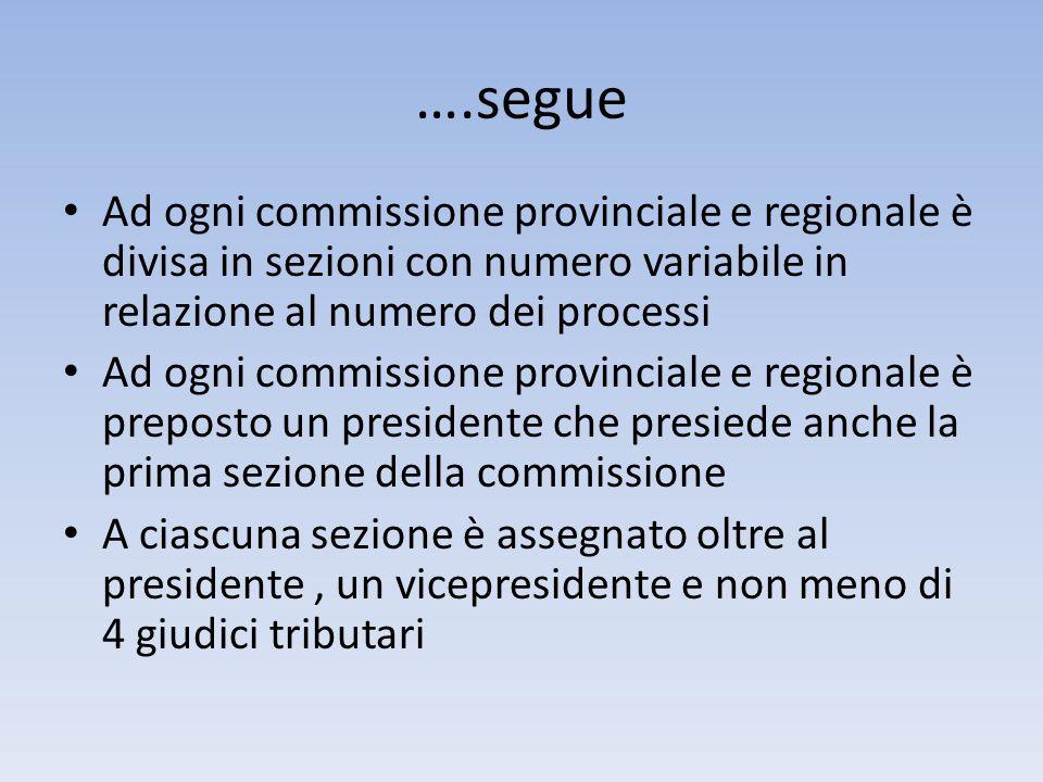 ….segue Ad ogni commissione provinciale e regionale è divisa in sezioni con numero variabile in relazione al numero dei processi.