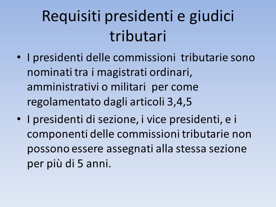 Requisiti presidenti e giudici tributari