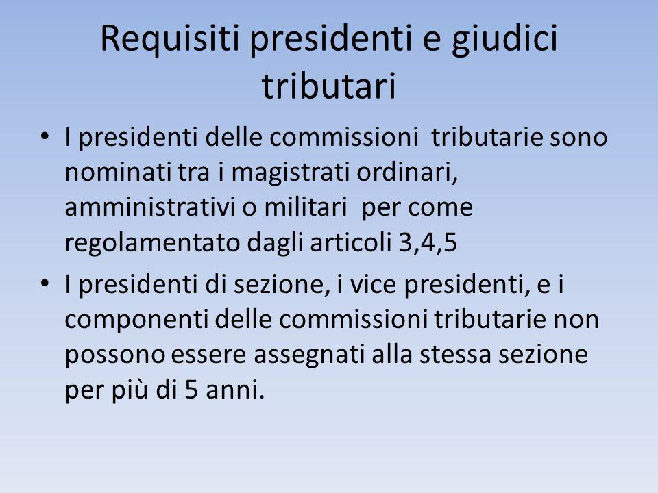 Requisiti presidenti e giudici tributari