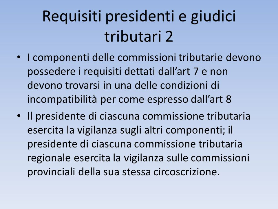 Requisiti presidenti e giudici tributari 2