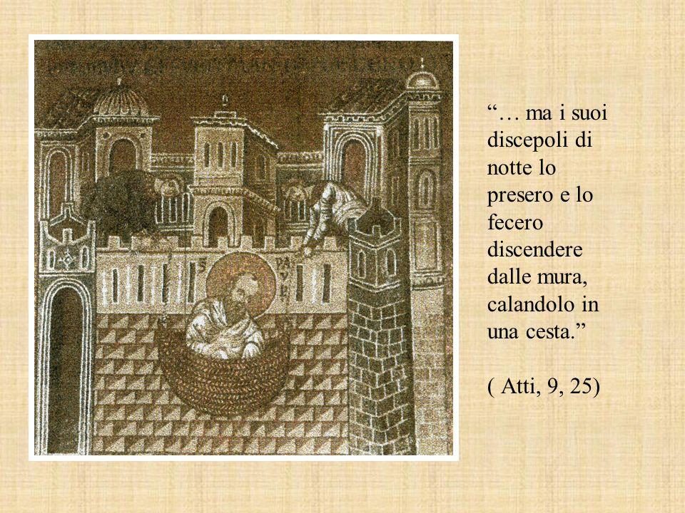 … ma i suoi discepoli di notte lo presero e lo fecero discendere dalle mura, calandolo in una cesta. ( Atti, 9, 25)