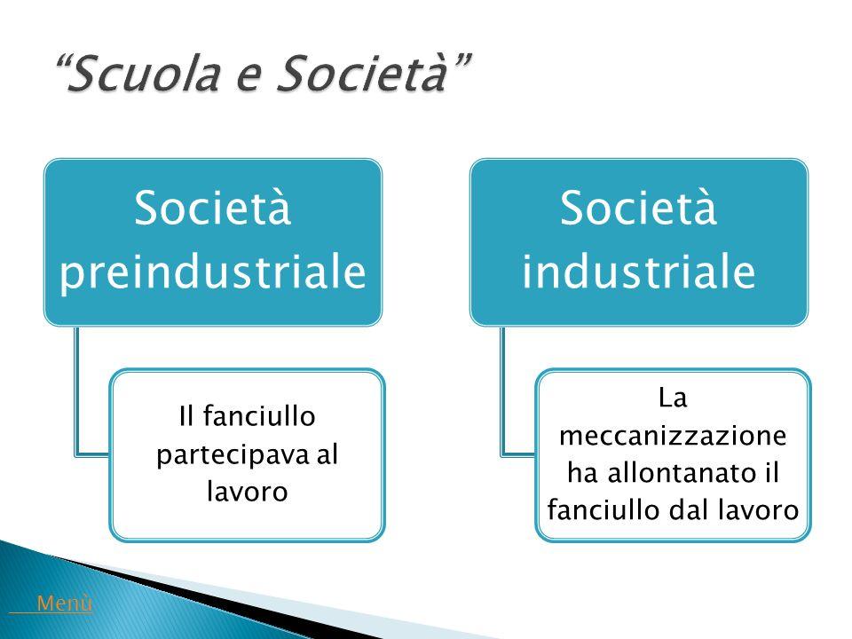 Scuola e Società Società preindustriale Società industriale