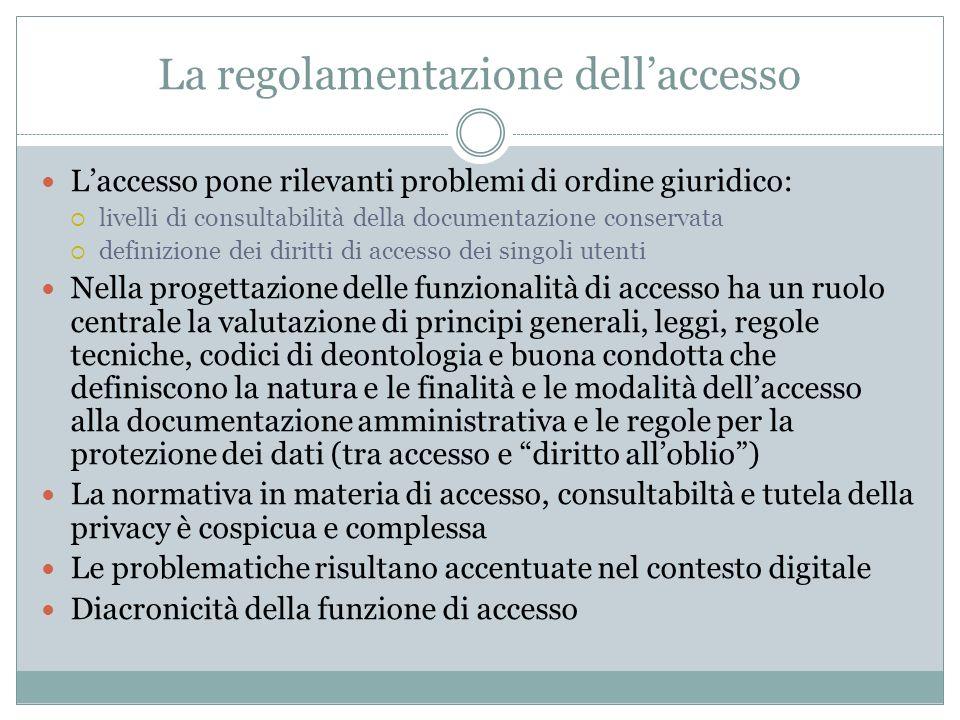 La regolamentazione dell'accesso
