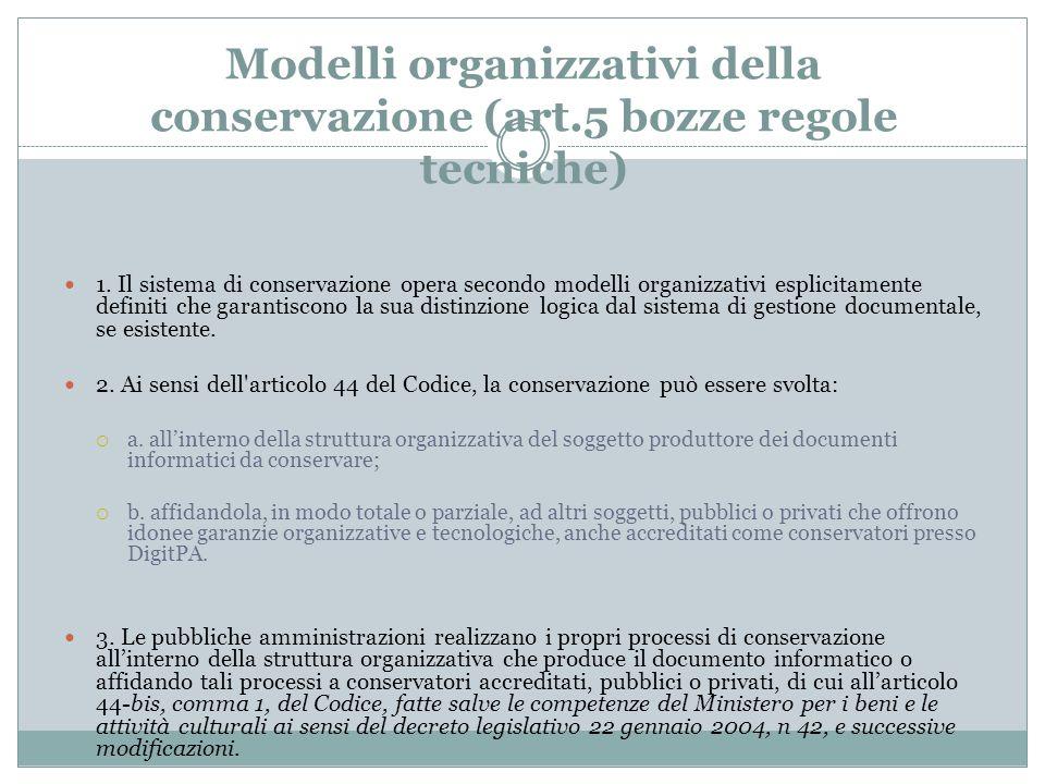 Modelli organizzativi della conservazione (art