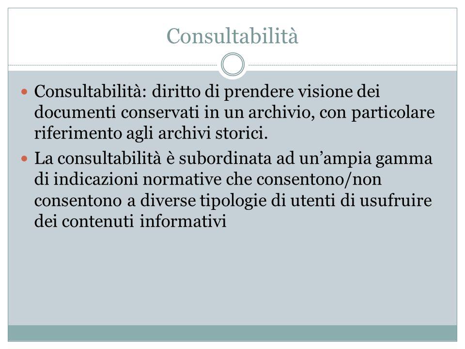Consultabilità Consultabilità: diritto di prendere visione dei documenti conservati in un archivio, con particolare riferimento agli archivi storici.