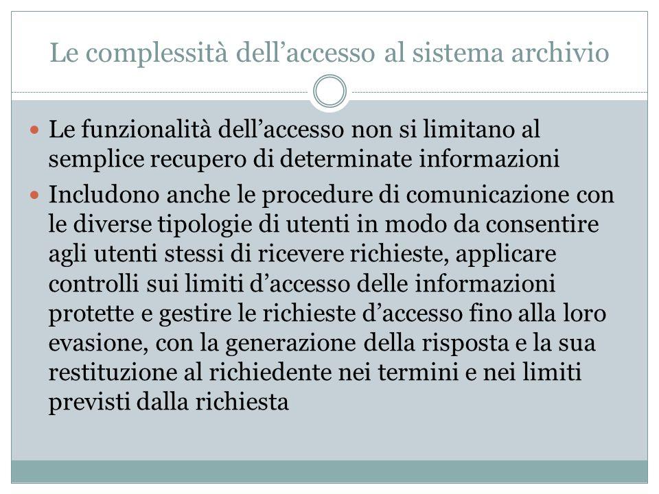 Le complessità dell'accesso al sistema archivio