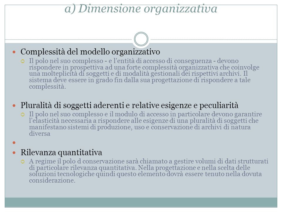a) Dimensione organizzativa