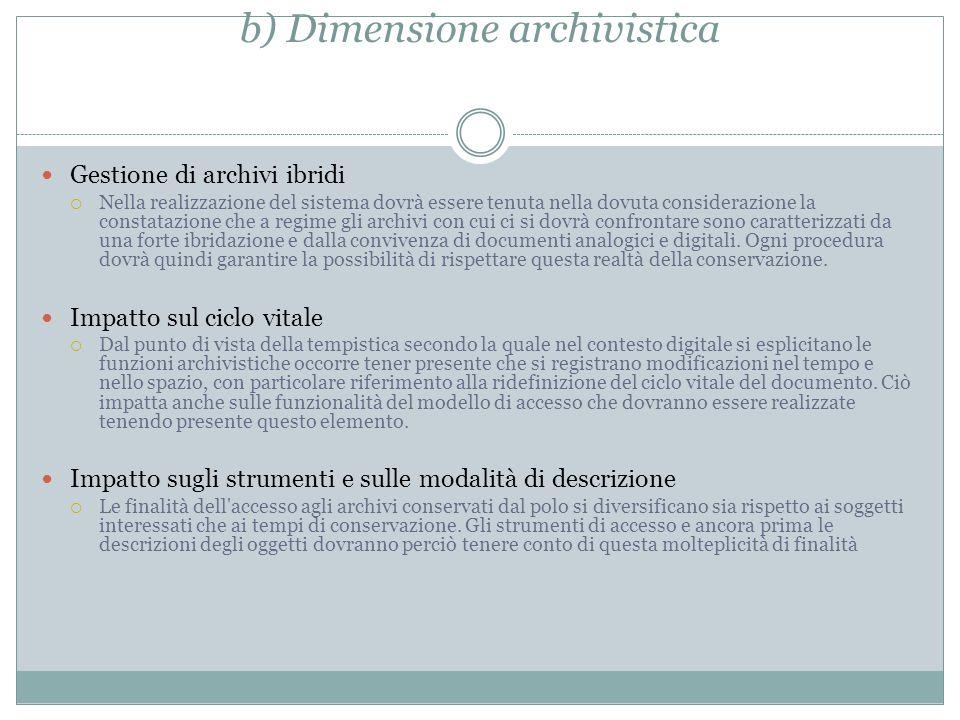 b) Dimensione archivistica