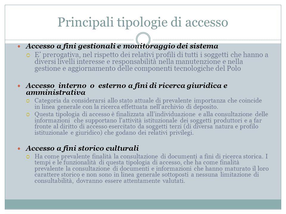 Principali tipologie di accesso