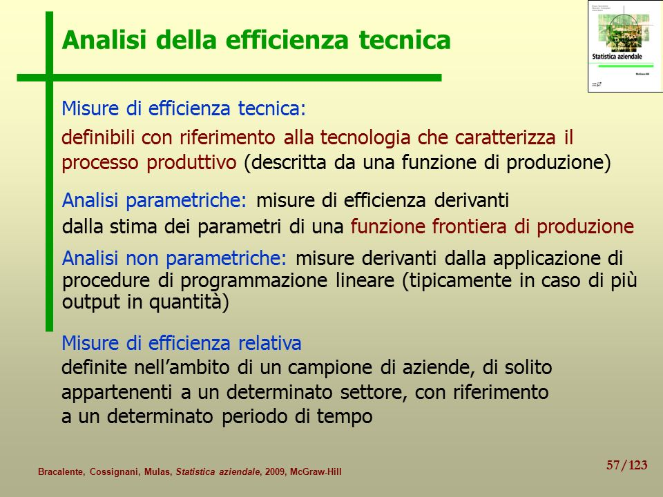 Analisi della efficienza tecnica