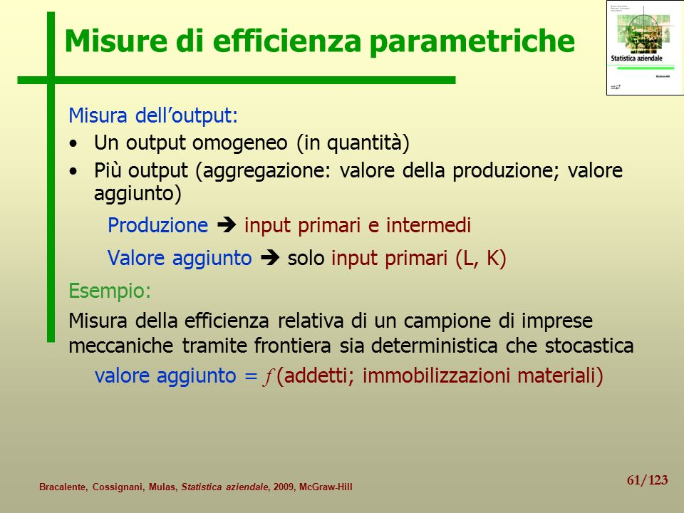 Misure di efficienza parametriche