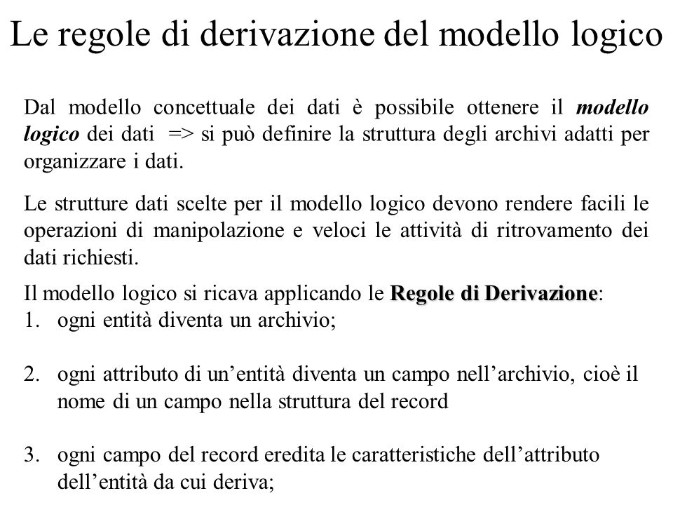 Le regole di derivazione del modello logico