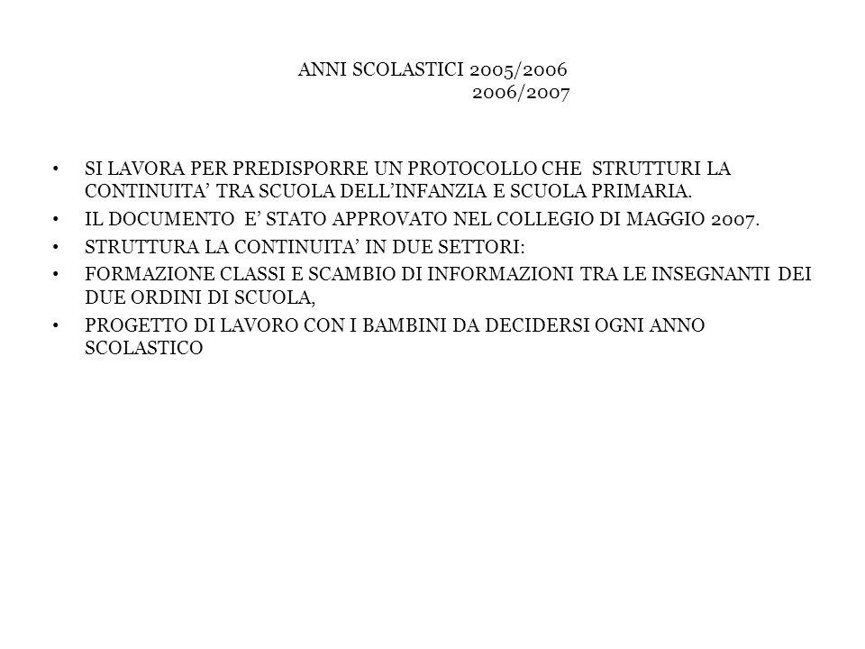ANNI SCOLASTICI 2005/2006 2006/2007