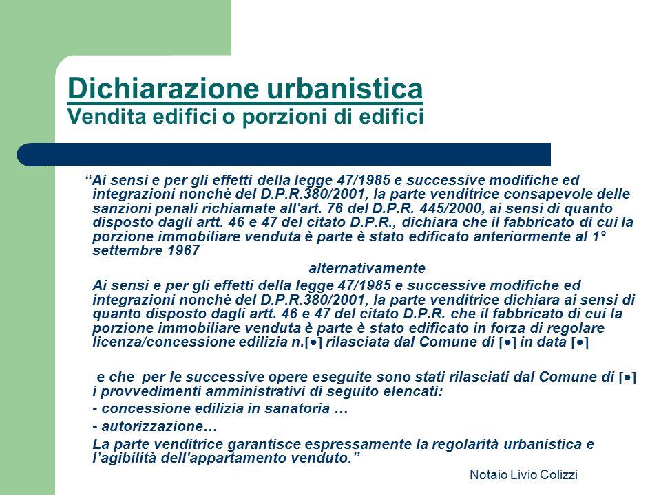 Dichiarazione urbanistica Vendita edifici o porzioni di edifici