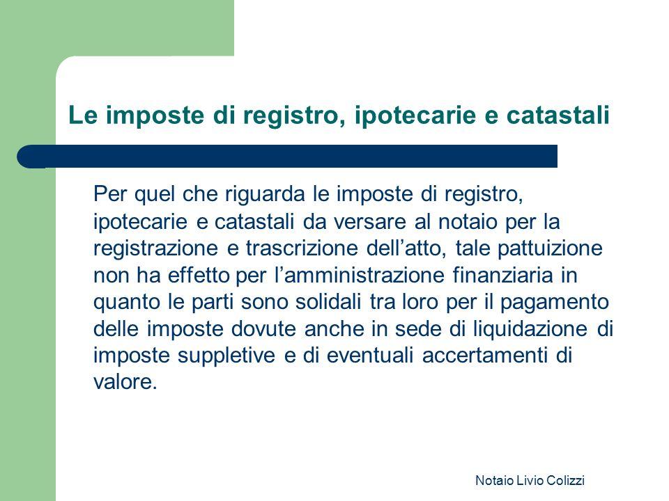 Le imposte di registro, ipotecarie e catastali