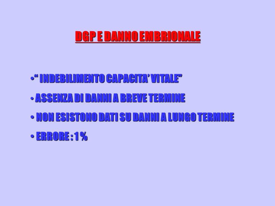 DGP E DANNO EMBRIONALE INDEBILIMENTO CAPACITA' VITALE