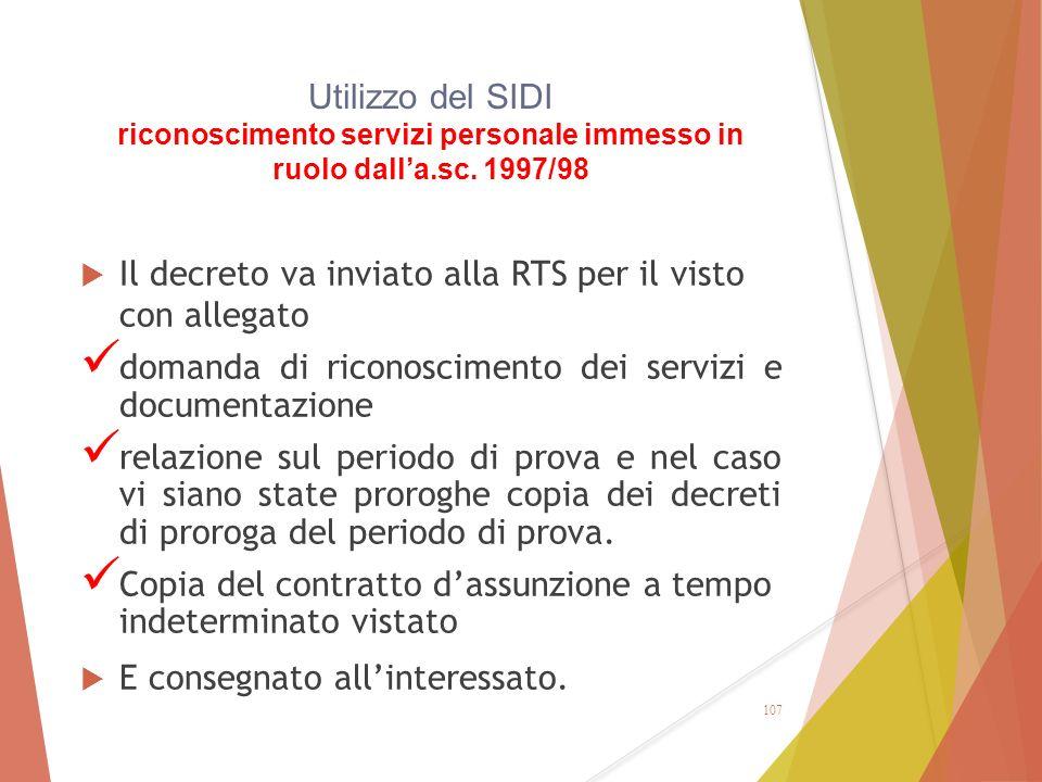 Utilizzo del SIDI riconoscimento servizi personale immesso in ruolo dall'a.sc. 1997/98