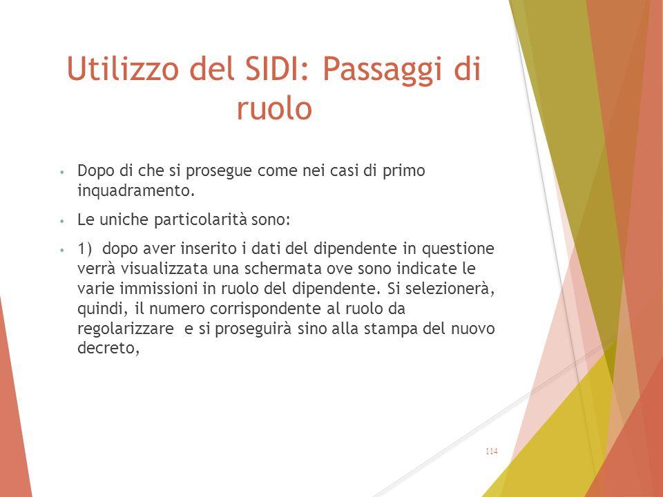Utilizzo del SIDI: Passaggi di ruolo