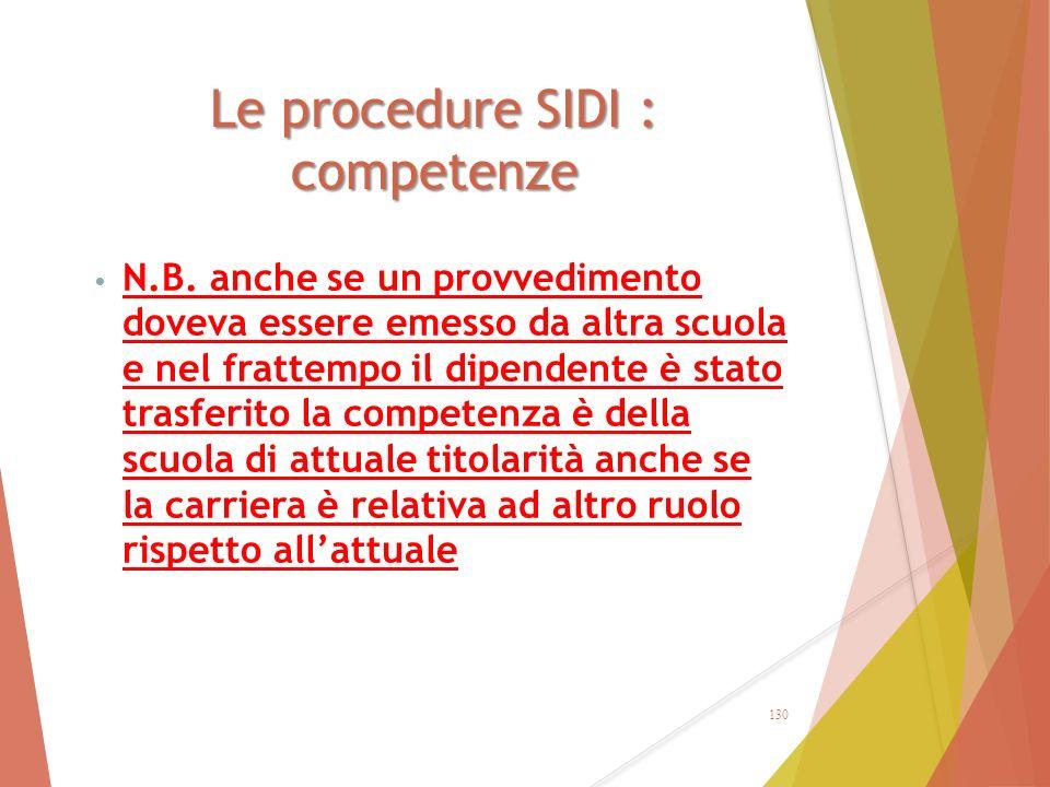 Le procedure SIDI : competenze
