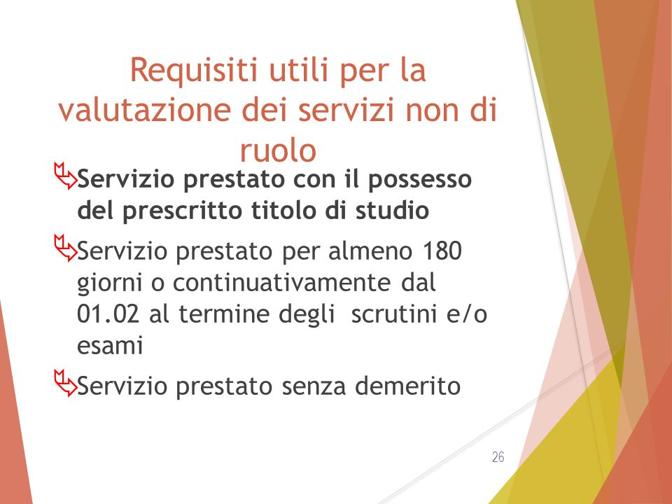 Requisiti utili per la valutazione dei servizi non di ruolo