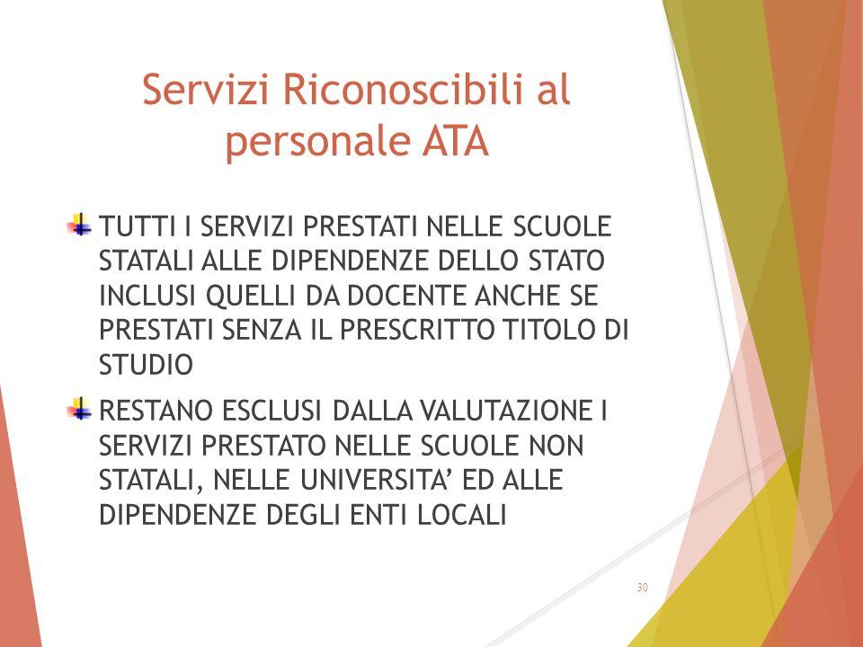 Servizi Riconoscibili al personale ATA