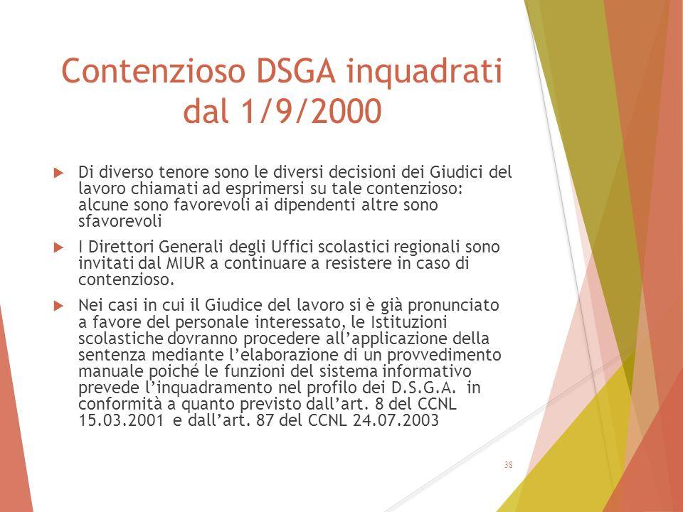 Contenzioso DSGA inquadrati dal 1/9/2000