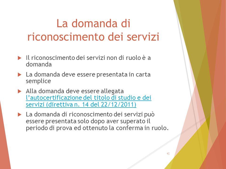 La domanda di riconoscimento dei servizi