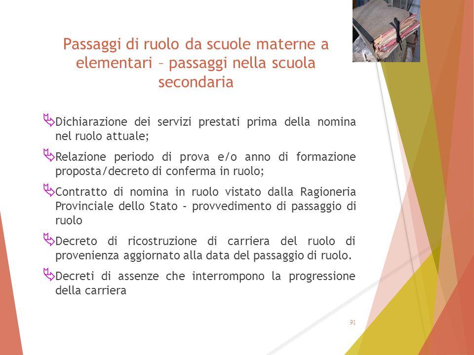 Passaggi di ruolo da scuole materne a elementari – passaggi nella scuola secondaria