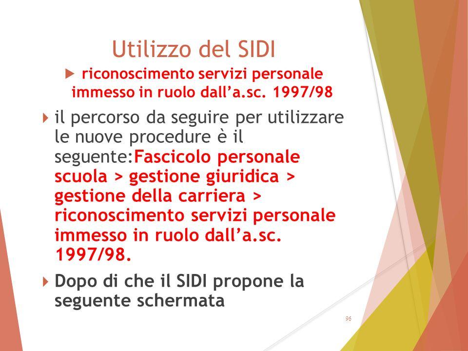 riconoscimento servizi personale immesso in ruolo dall'a.sc. 1997/98