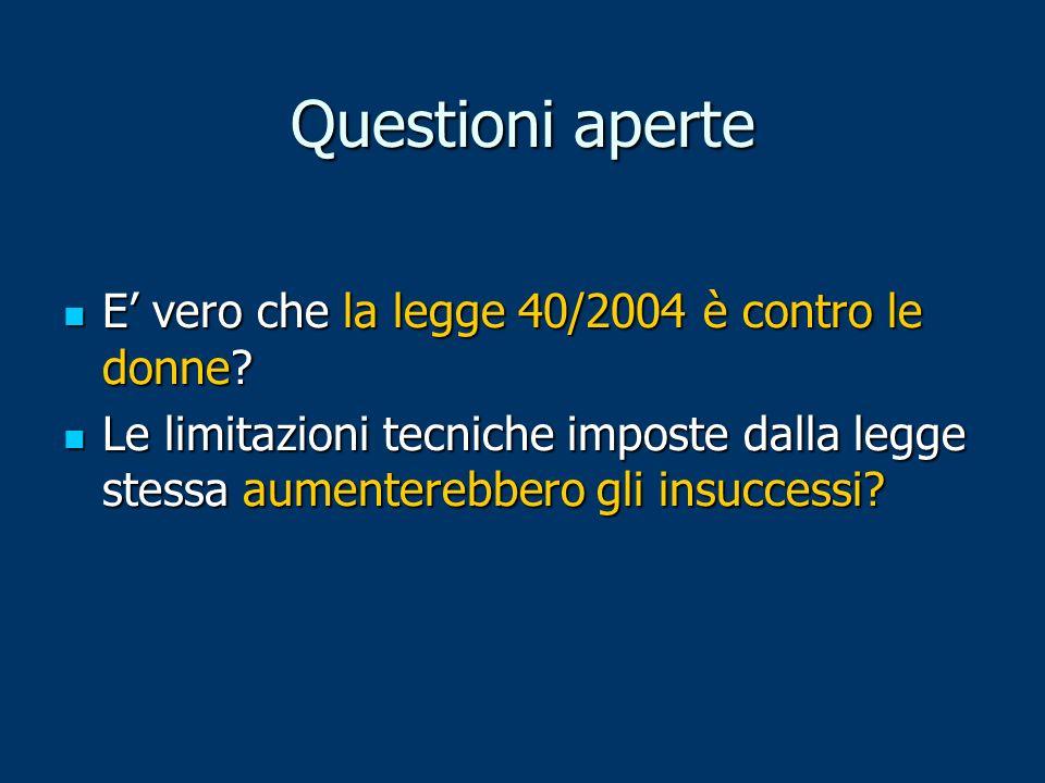 Questioni aperte E' vero che la legge 40/2004 è contro le donne