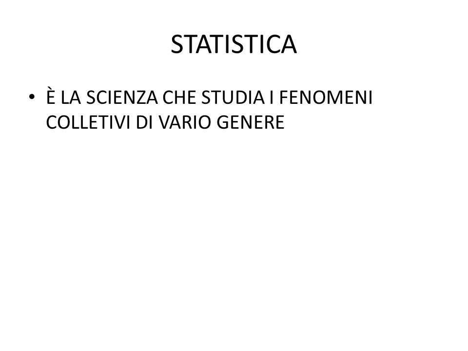 STATISTICA È LA SCIENZA CHE STUDIA I FENOMENI COLLETIVI DI VARIO GENERE