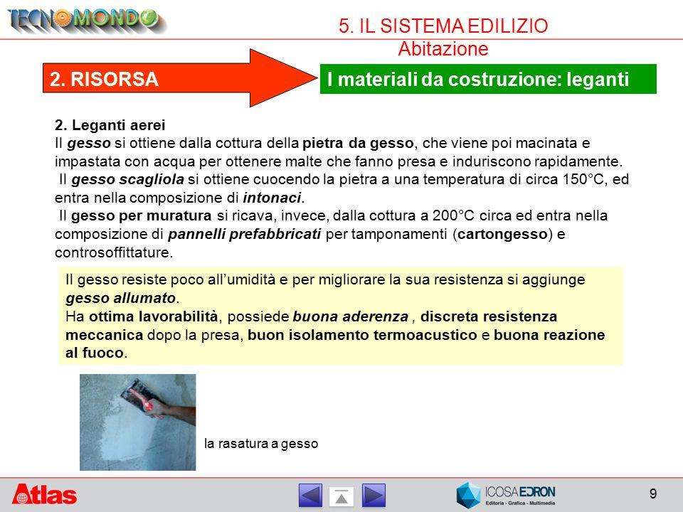 I materiali da costruzione: leganti