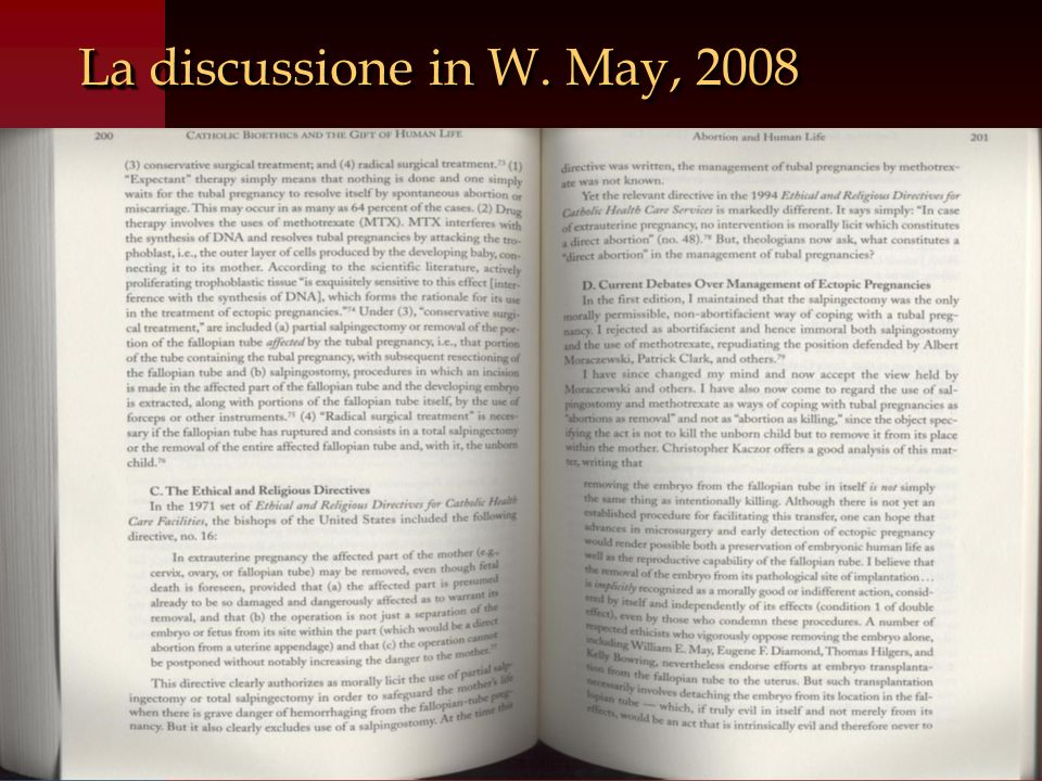 La discussione in W. May, 2008