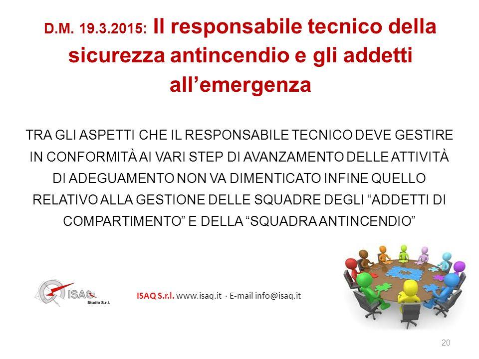 D.M. 19.3.2015: Il responsabile tecnico della sicurezza antincendio e gli addetti all'emergenza