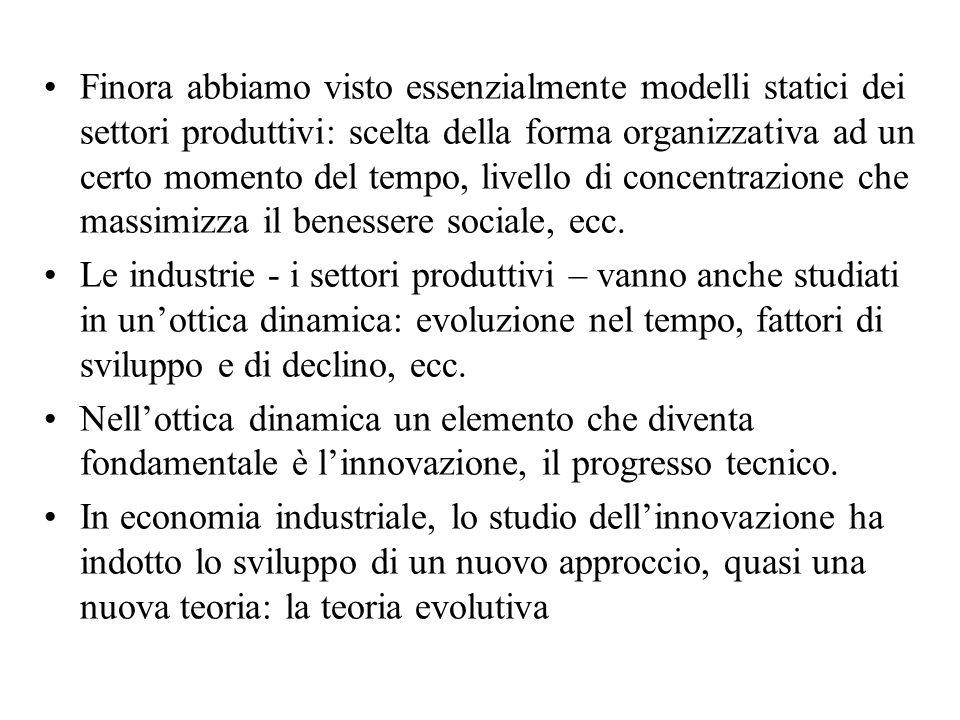 Finora abbiamo visto essenzialmente modelli statici dei settori produttivi: scelta della forma organizzativa ad un certo momento del tempo, livello di concentrazione che massimizza il benessere sociale, ecc.
