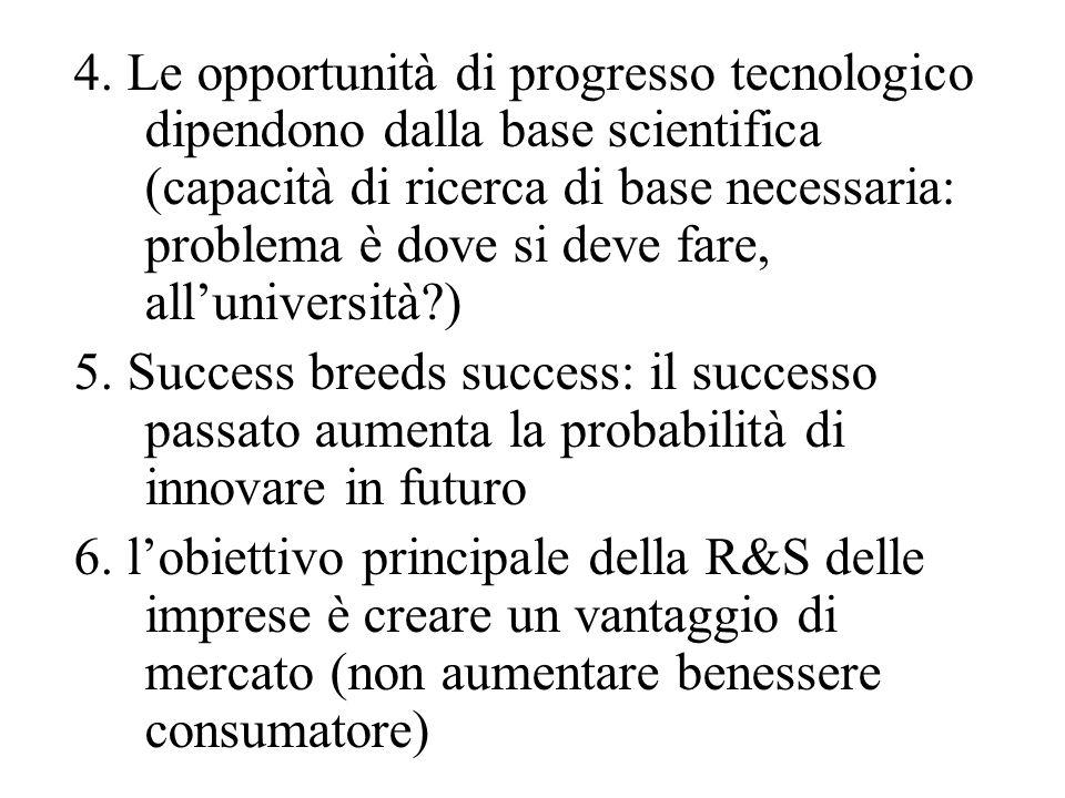 4. Le opportunità di progresso tecnologico dipendono dalla base scientifica (capacità di ricerca di base necessaria: problema è dove si deve fare, all'università )