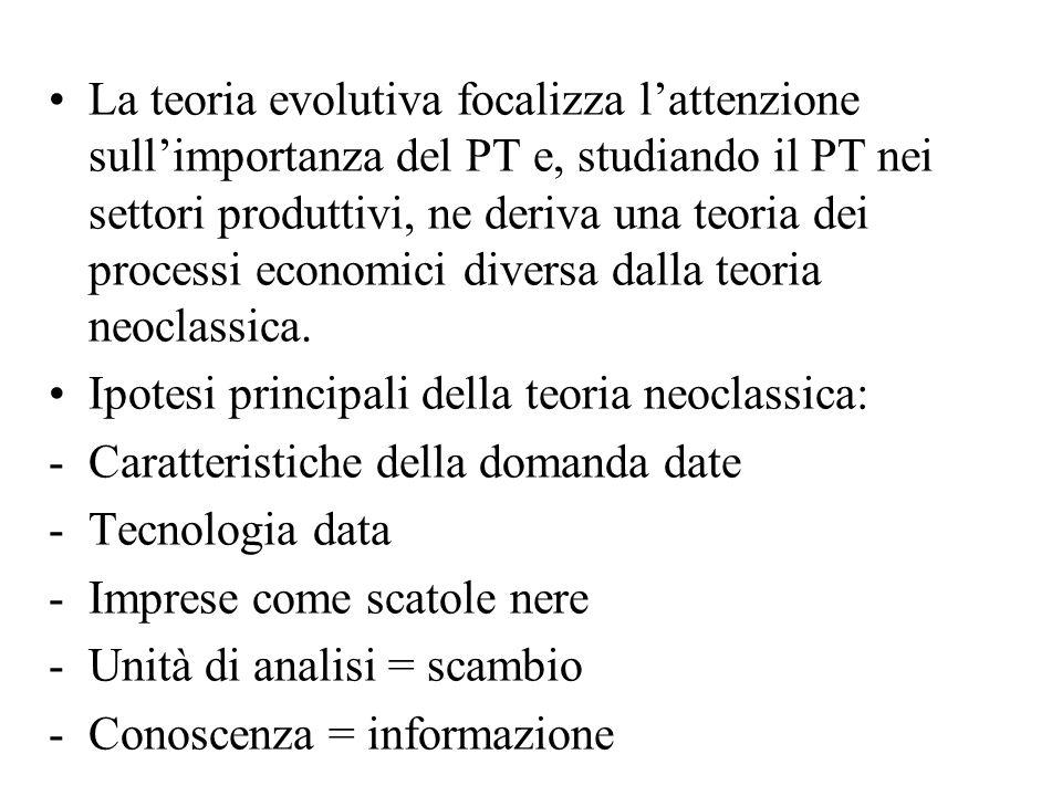 La teoria evolutiva focalizza l'attenzione sull'importanza del PT e, studiando il PT nei settori produttivi, ne deriva una teoria dei processi economici diversa dalla teoria neoclassica.