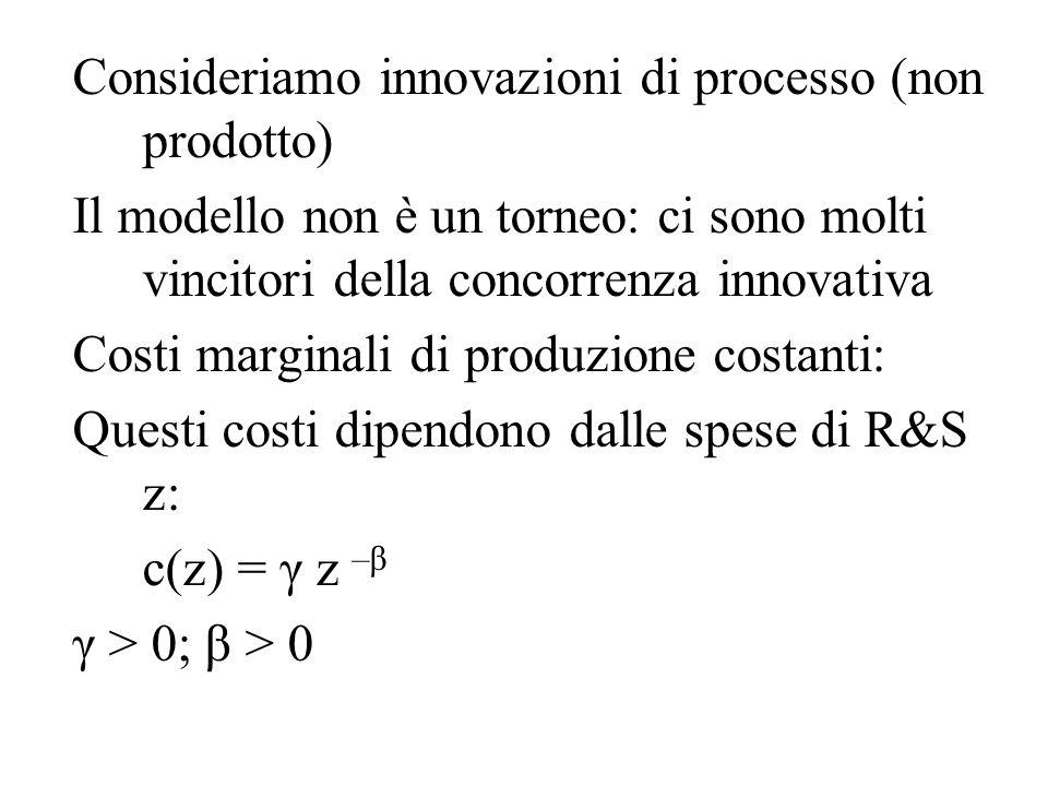 Consideriamo innovazioni di processo (non prodotto)