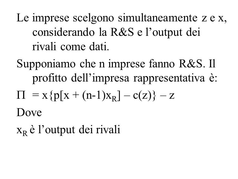 Le imprese scelgono simultaneamente z e x, considerando la R&S e l'output dei rivali come dati.