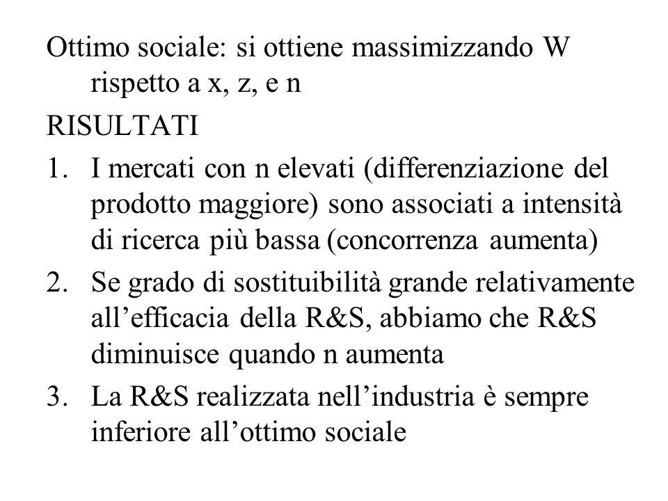 Ottimo sociale: si ottiene massimizzando W rispetto a x, z, e n