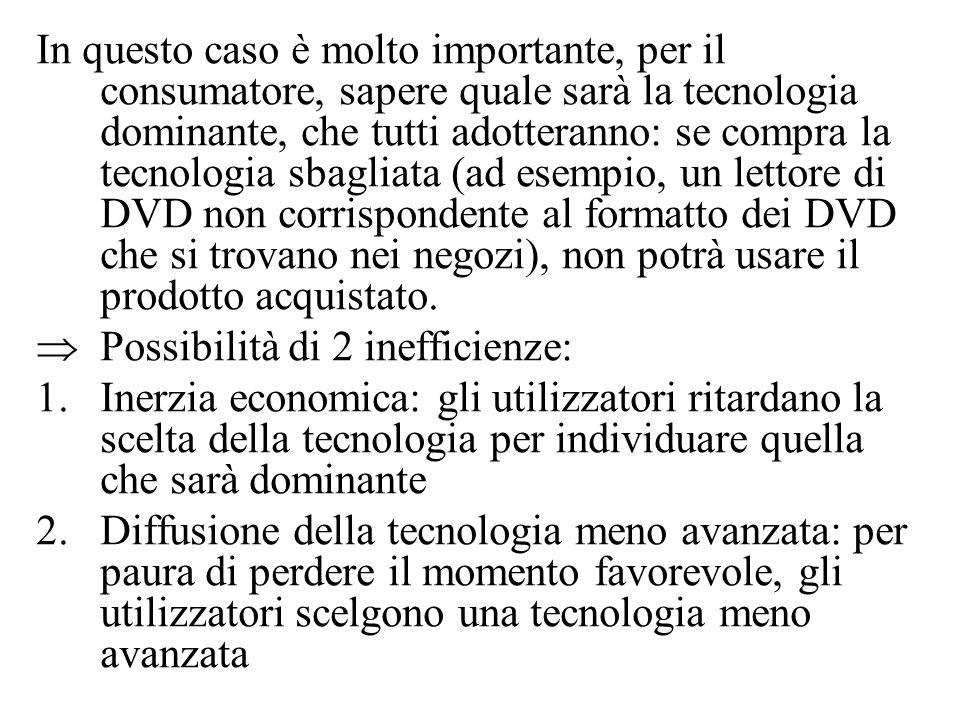 In questo caso è molto importante, per il consumatore, sapere quale sarà la tecnologia dominante, che tutti adotteranno: se compra la tecnologia sbagliata (ad esempio, un lettore di DVD non corrispondente al formatto dei DVD che si trovano nei negozi), non potrà usare il prodotto acquistato.