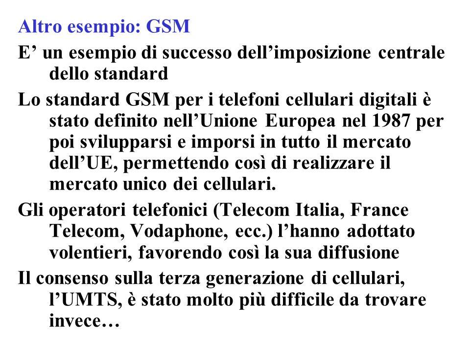 Altro esempio: GSM E' un esempio di successo dell'imposizione centrale dello standard.
