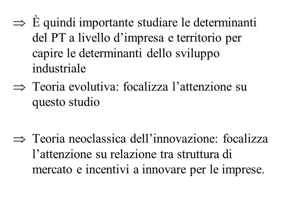È quindi importante studiare le determinanti del PT a livello d'impresa e territorio per capire le determinanti dello sviluppo industriale