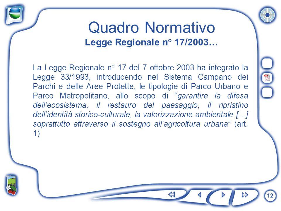 Quadro Normativo Legge Regionale n° 17/2003…